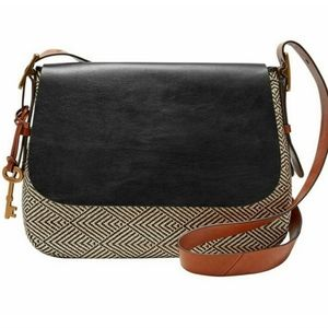 Fossil Large Harper Tweed Leather Crossbody Bag